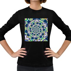 Power Spiral Polygon Blue Green White Women s Long Sleeve Dark T Shirts