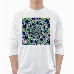 Power Spiral Polygon Blue Green White White Long Sleeve T Shirts