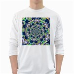Power Spiral Polygon Blue Green White White Long Sleeve T-Shirts Front