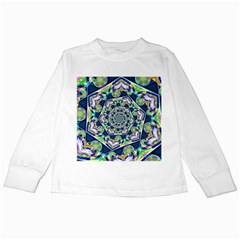 Power Spiral Polygon Blue Green White Kids Long Sleeve T Shirts