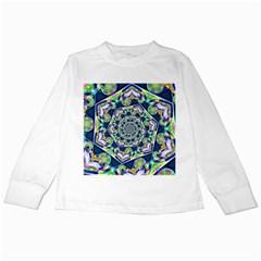 Power Spiral Polygon Blue Green White Kids Long Sleeve T Shirts by EDDArt