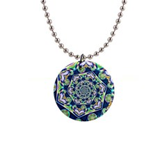Power Spiral Polygon Blue Green White Button Necklaces by EDDArt