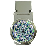 Power Spiral Polygon Blue Green White Money Clip Watches Front