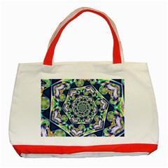 Power Spiral Polygon Blue Green White Classic Tote Bag (red) by EDDArt