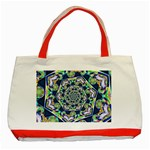 Power Spiral Polygon Blue Green White Classic Tote Bag (Red) Front