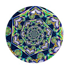 Power Spiral Polygon Blue Green White Round Ornament (two Sides)  by EDDArt