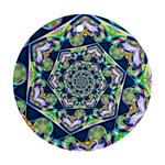 Power Spiral Polygon Blue Green White Round Ornament (Two Sides)  Back