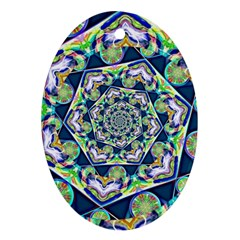 Power Spiral Polygon Blue Green White Oval Ornament (two Sides) by EDDArt
