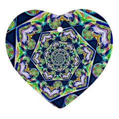 Power Spiral Polygon Blue Green White Heart Ornament (2 Sides)