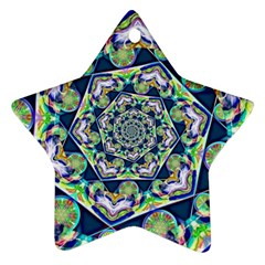 Power Spiral Polygon Blue Green White Star Ornament (two Sides)  by EDDArt