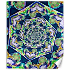 Power Spiral Polygon Blue Green White Canvas 8  X 10