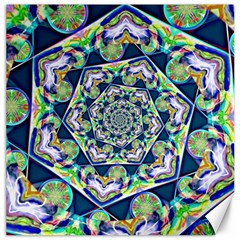 Power Spiral Polygon Blue Green White Canvas 12  X 12
