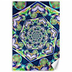 Power Spiral Polygon Blue Green White Canvas 12  X 18   by EDDArt