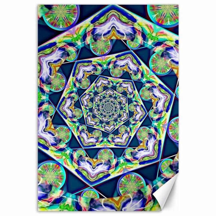 Power Spiral Polygon Blue Green White Canvas 12  x 18