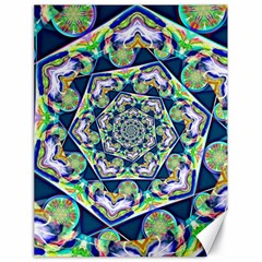 Power Spiral Polygon Blue Green White Canvas 18  X 24