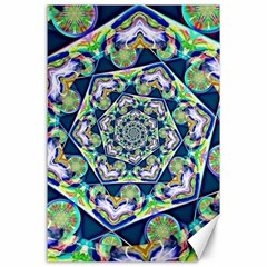 Power Spiral Polygon Blue Green White Canvas 24  X 36