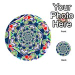 Power Spiral Polygon Blue Green White Playing Cards 54 (Round)  Front - Heart6