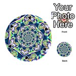Power Spiral Polygon Blue Green White Playing Cards 54 (Round)  Front - SpadeJ