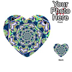 Power Spiral Polygon Blue Green White Playing Cards 54 (heart)  by EDDArt