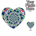 Power Spiral Polygon Blue Green White Playing Cards 54 (Heart)  Front - Heart6