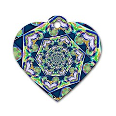 Power Spiral Polygon Blue Green White Dog Tag Heart (two Sides) by EDDArt