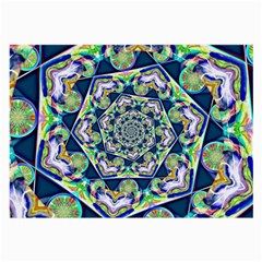 Power Spiral Polygon Blue Green White Large Glasses Cloth by EDDArt