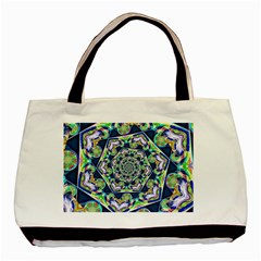 Power Spiral Polygon Blue Green White Basic Tote Bag (two Sides) by EDDArt