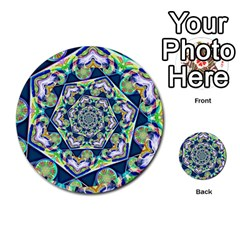 Power Spiral Polygon Blue Green White Multi Purpose Cards (round)
