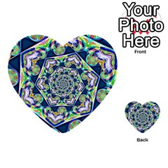 Power Spiral Polygon Blue Green White Multi Purpose Cards (heart)  by EDDArt