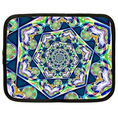 Power Spiral Polygon Blue Green White Netbook Case (large)