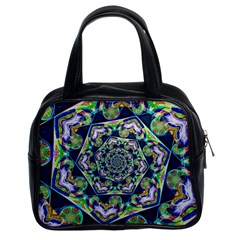 Power Spiral Polygon Blue Green White Classic Handbags (2 Sides)