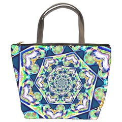 Power Spiral Polygon Blue Green White Bucket Bags by EDDArt