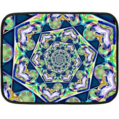 Power Spiral Polygon Blue Green White Fleece Blanket (mini) by EDDArt