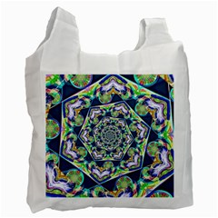 Power Spiral Polygon Blue Green White Recycle Bag (two Side)