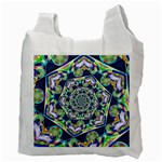 Power Spiral Polygon Blue Green White Recycle Bag (Two Side)  Back