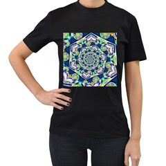 Power Spiral Polygon Blue Green White Women s T Shirt (black) by EDDArt