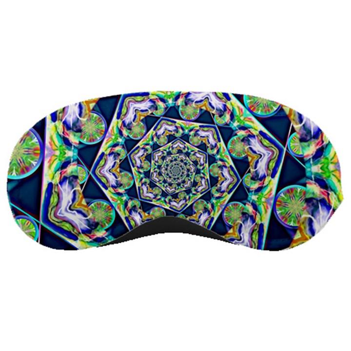 Power Spiral Polygon Blue Green White Sleeping Masks