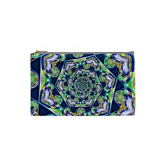 Power Spiral Polygon Blue Green White Cosmetic Bag (small)  by EDDArt
