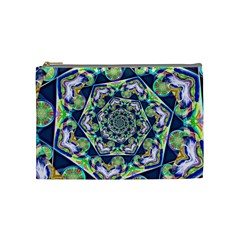 Power Spiral Polygon Blue Green White Cosmetic Bag (medium)  by EDDArt