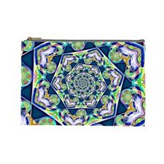 Power Spiral Polygon Blue Green White Cosmetic Bag (large)  by EDDArt