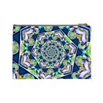 Power Spiral Polygon Blue Green White Cosmetic Bag (Large)  Back
