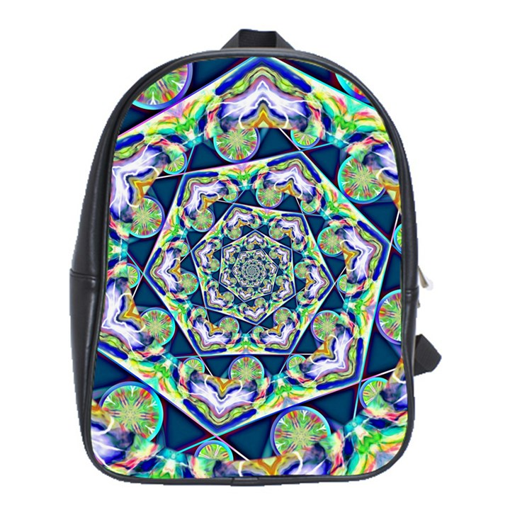Power Spiral Polygon Blue Green White School Bags(Large)