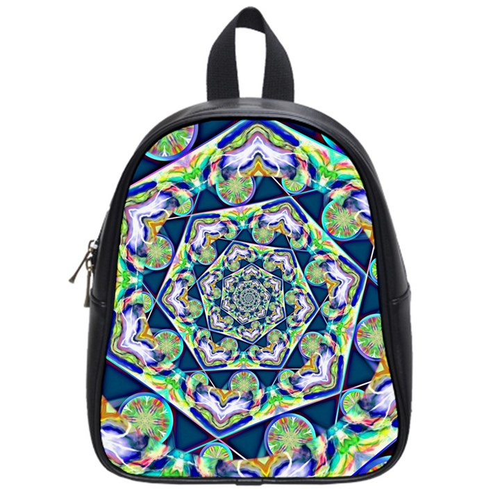 Power Spiral Polygon Blue Green White School Bags (Small)