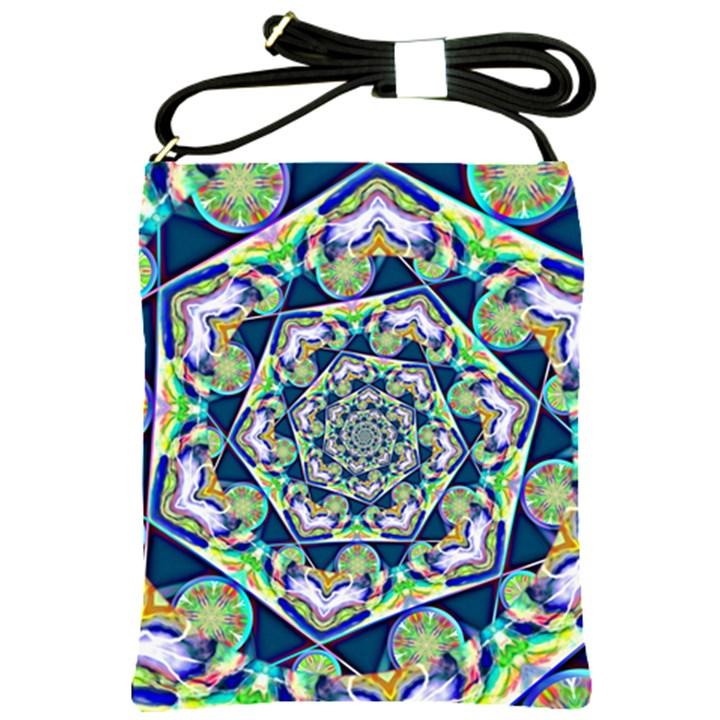 Power Spiral Polygon Blue Green White Shoulder Sling Bags
