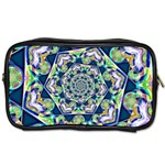 Power Spiral Polygon Blue Green White Toiletries Bags 2-Side Front