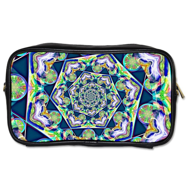 Power Spiral Polygon Blue Green White Toiletries Bags 2-Side