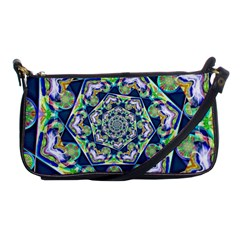Power Spiral Polygon Blue Green White Shoulder Clutch Bags by EDDArt