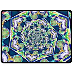 Power Spiral Polygon Blue Green White Fleece Blanket (large)