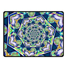 Power Spiral Polygon Blue Green White Fleece Blanket (small) by EDDArt