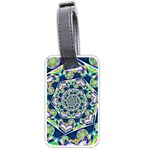 Power Spiral Polygon Blue Green White Luggage Tags (One Side)  Front